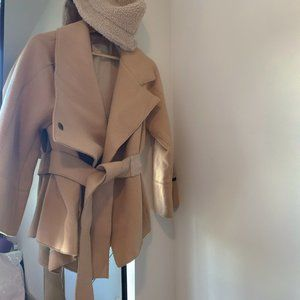 Chic Wool belted brown coat